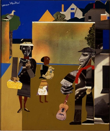 """Village Square"" by Romare Bearden (1969)--part of the Modern Masters Exhibit at the Reynolda House"