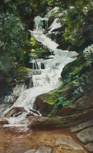 "Do you see this crazy amazing painting?! ""Falling Water"" is only a peek at what you'll see at TAG this evening."