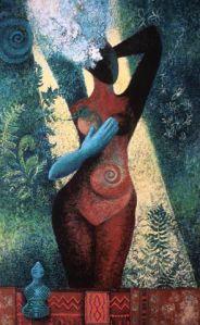 Copper Goddess. Oil sticks and oil paint. 2002.