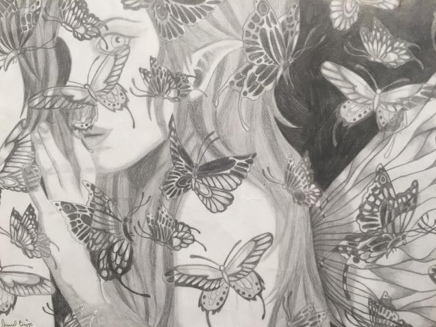 Jewel Biggs, Chrysalis, 2015, Colored Pencil