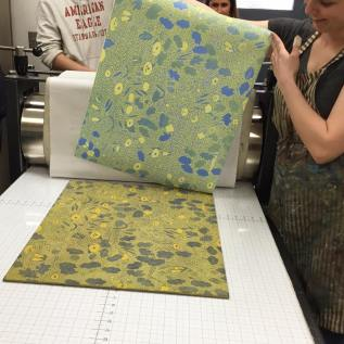 Printing a three block woodcut at South Dakota State University